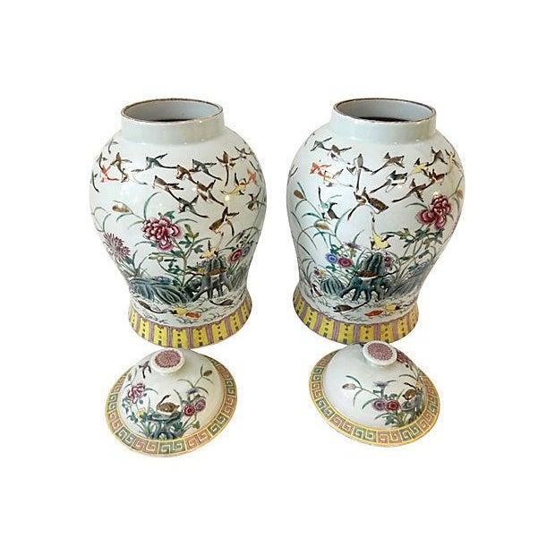 Asian Famille Rose Ginger W/ Ducks Jars, S/2 For Sale - Image 3 of 7
