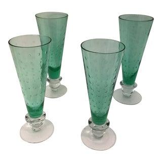 Vintage Juniper Green Beer Goblet Glasses - Set of 4 For Sale
