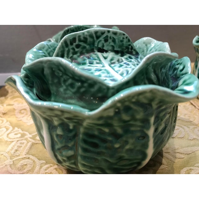 Vintage Secla Majolica Green Cabbage Covered Soup Bowls - Set of 3 For Sale - Image 11 of 12
