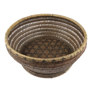 Antique Chinese Large Straw Basket For Sale