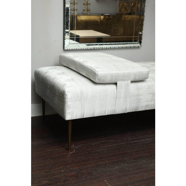 Sleek Custom Daybed with Removable Pillow and Brass Legs For Sale In New York - Image 6 of 7