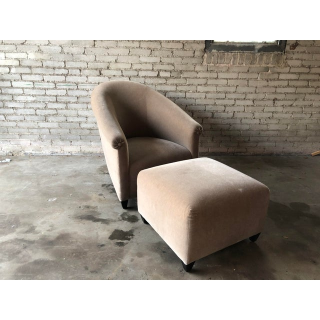 Italian Minotti Mohair Lounge Chair and Ottoman For Sale - Image 3 of 12