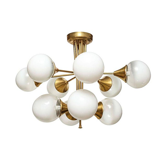 Mid Century Modern 10 Lights Chandelier, Attr to Stilnovo, Italy, 1960s For Sale In West Palm - Image 6 of 6