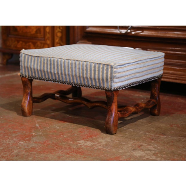 Early 20th Century French Louis XIII Carved Mutton Bone Stool With Stripe Velvet For Sale - Image 9 of 9