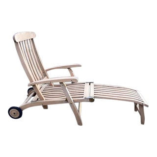 1980s Vintage Barlow Tyrie Outdoor Commodore Steamer Chair Chaise For Sale