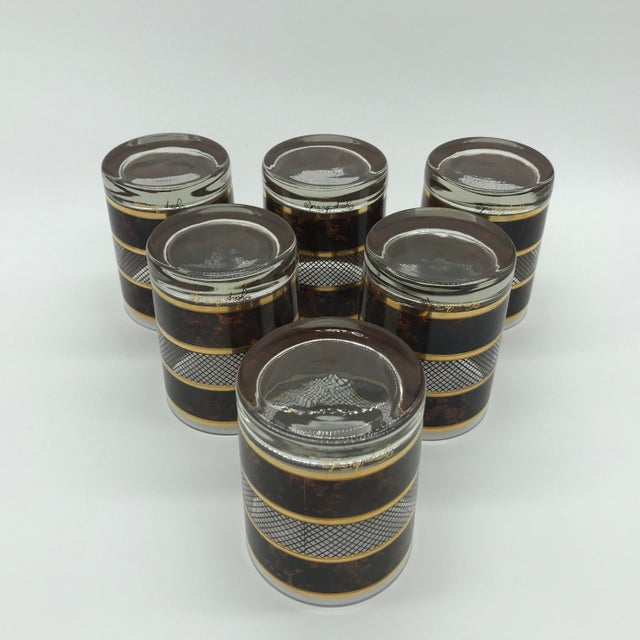 Brown Vintage Georges Briard Old Fashioned Cocktail Glasses Set of 6 For Sale - Image 8 of 12
