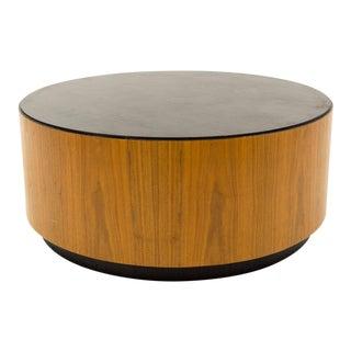 Mid Century Walnut Drum Barrel Round Coffee Table For Sale