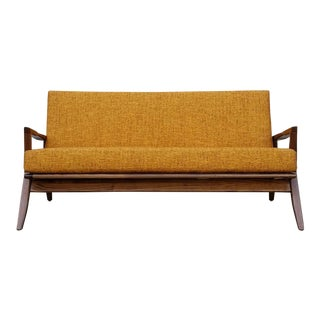 Mid-Century Solid Walnut Loveseat For Sale