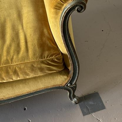 19th-C. Venetian Recamier with carved and painted frame. Height: 30″ Width: 86″ Depth: 32″ Seat Height: 19″
