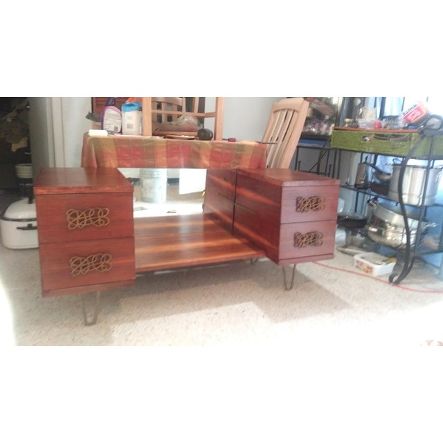 Mid Century Walnut Vanity With Hairpin Legs and Mirror For Sale - Image 4 of 11