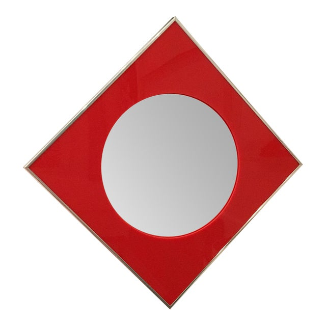 Carvers Guild Convex Mirror of Red Lucite and Chrome - Image 1 of 8