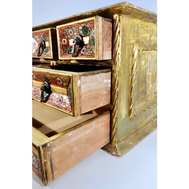 1920s Early 20th Century Gold Gilt Chest With Reverse Painted Glass on Stand For Sale - Image 5 of 11