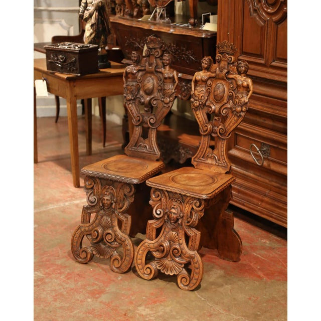 Brown Pair of 19th Century Italian Renaissance Carved Walnut Sgabello Hall Chairs For Sale - Image 8 of 13