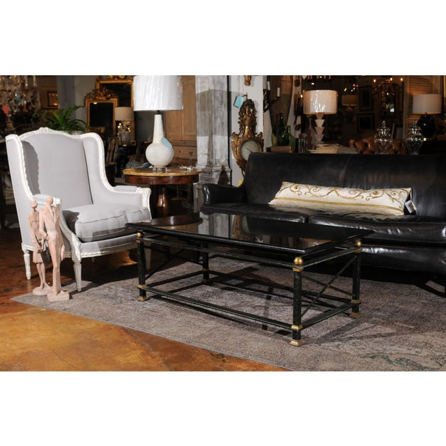 French Parisian Coffee Table with Black Marble Top, Iron Base and Brass Accents For Sale - Image 4 of 12