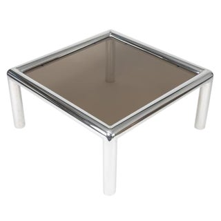 "JOHN MASCHERONI ALUMINUM AND SMOKED-GLASS ""TUBO"" COFFEE TABLE For Sale"