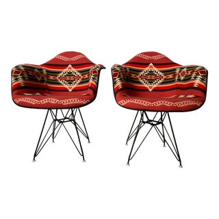 Herman Miller Charles Eames Pendleton Blanket Eiffel Base Armchairs - a Pair For Sale