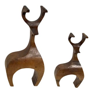 Modern Carved Deer Figurines - A Pair For Sale