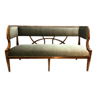 Early 20th Century French Neoclassical Style Settee in Gray Velvet For Sale