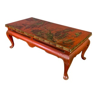 Vintage 20th Century Chinese Scenic Red Lacquered Low Coffee Table For Sale