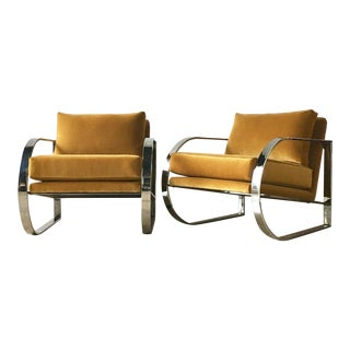 Chromium Steel Framed Velvet Armchairs 1970s For Sale