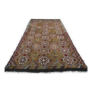 """Vintage Turkish Kilim Wool Rug-5'11'x10'6"""" For Sale"""