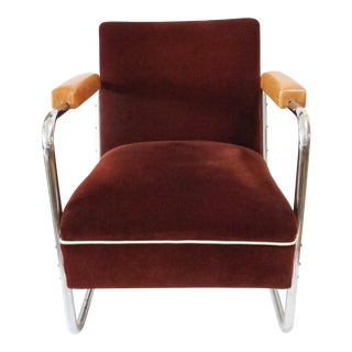 Vintage German Mohair Upholstered Chrome Chair For Sale