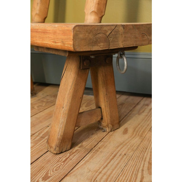 1920s Chunky Oak Rustic Bench For Sale - Image 5 of 10