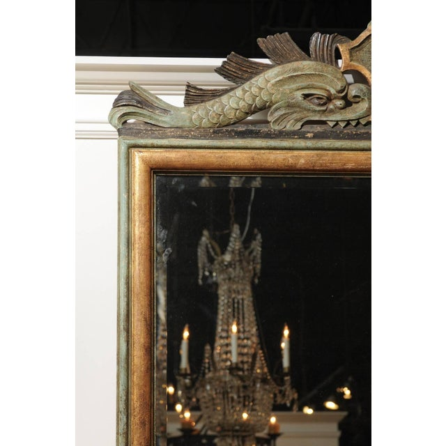 Italian 1850s Baroque Style Painted Mirror, Hand-Carved with Stylized Dolphins For Sale In Atlanta - Image 6 of 12
