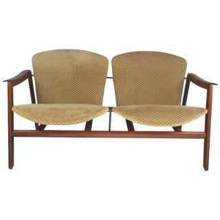 Classic Danish Modern Sculptural Two Seater in the Manner of Finn Juhl For Sale