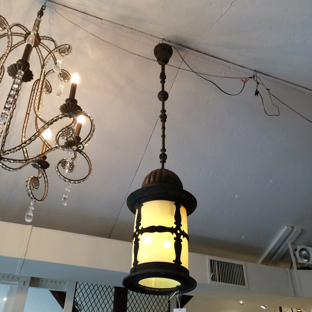 Old World Metal and Opalescent Glass Lantern - Image 2 of 3