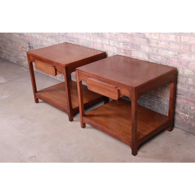 Mid 20th Century Edward Wormley for Drexel Precedent Mid-Century Modern Nightstands or End Tables, Newly Refinished For Sale - Image 5 of 13