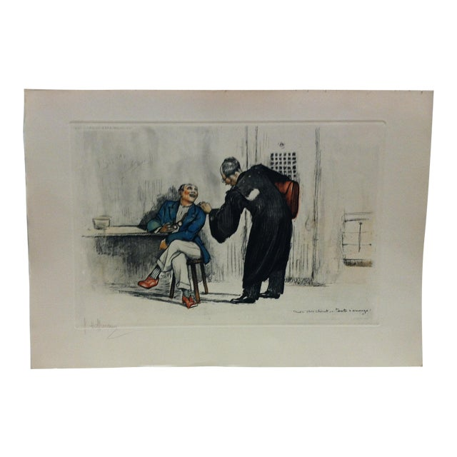 "1930s Vintage ""The Lawyer"" French Hand-Colored Print by G. Hoffmann For Sale"