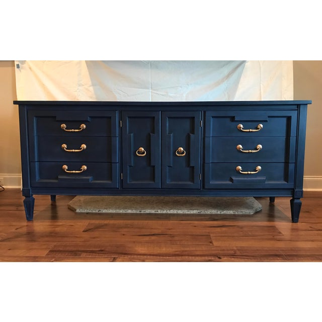 Beautiful refinished Dresser/Credenza painted deep blue and sealed with black wax. Original gold hardware. Would be...