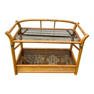 Vintage Mid-Century Woven Rattan and Bamboo Console With Beveled Smoke Glass and Brass Accents For Sale