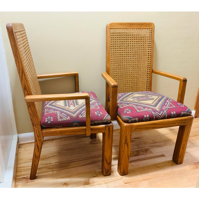 """This listing is for a pair of beautiful bohemian Mid-Century Lou Hodges style tall cane back chairs in excellent """"vintage""""..."""