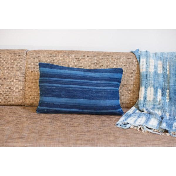 Dark Blue Striped Indigo Lumbar Pillow - Image 3 of 6