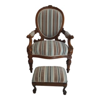 Antique Walnut Louis XVI Fauteuil and Footstool For Sale