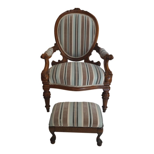 Antique Walnut Louis XVI Fauteuil and Footstool - Image 1 of 11