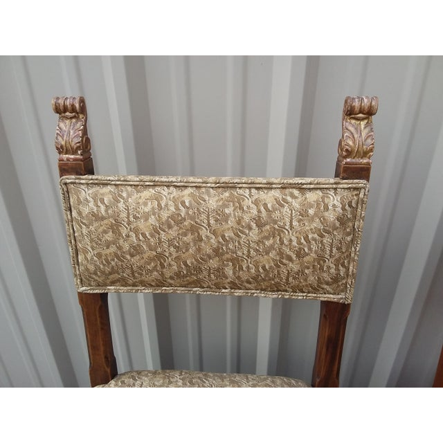 Fabric Antique Fortuny Fabric Hall Chairs - a Pair For Sale - Image 7 of 11