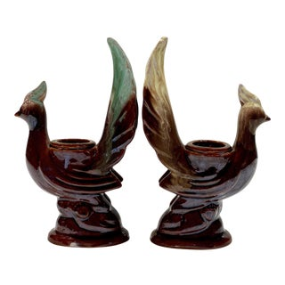 Vintage Art Deco Porcelain Majolica Peacock Bird Candlestick Holdeders - a Pair For Sale