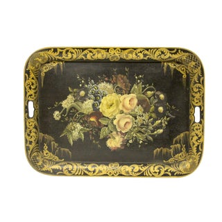 Large Antique French Tole Tray For Sale
