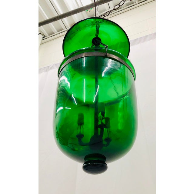 Green Traditional Green Glass Bell Jar Pendant For Sale - Image 8 of 13