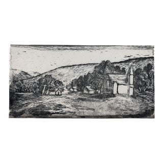 Country Scene Wood Block Print by Roy Charles Fox 1940s For Sale