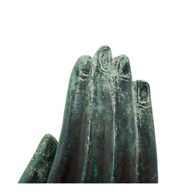 Green Vintage Bronze Hand Statue For Sale - Image 8 of 9