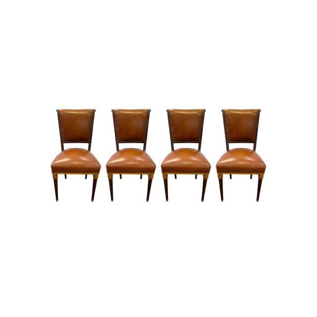 Set of Four French Carved Art Deco Brown Leather Chairs For Sale In New York - Image 6 of 6