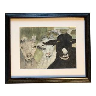 Original Vintage Watercolor Painting Goats For Sale