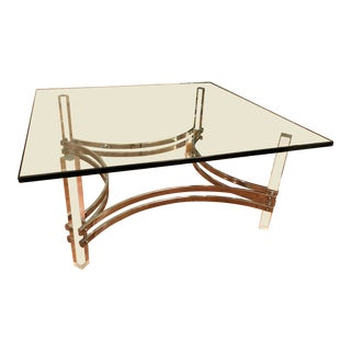 Charles Hollis Jones Lucite and Chrome Coffee Table Hollywood Regency For Sale