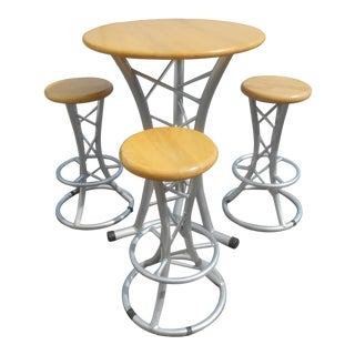 Custom Hand Crafted Aluminum and Hardwood Dining / Pub Table & Stools - 4 Pc. Set For Sale
