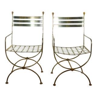 Bradbury Metal Side Chairs- A Pair For Sale