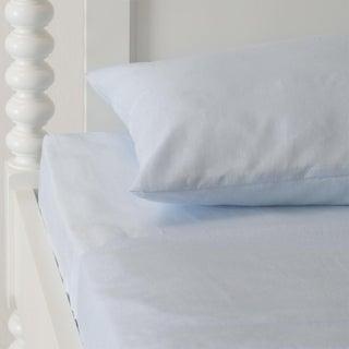 Sky Blue Italian Linen Sheet Set in Queen - 4 Pieces For Sale